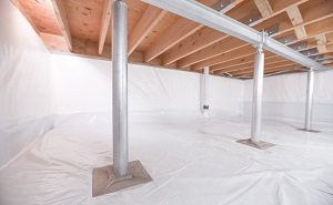 Crawl space structural support jacks installed in Albion