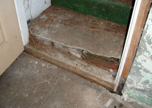 A flooded basement in Newark where water entered through the hatchway door