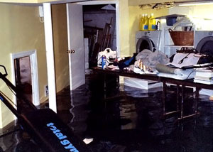 A laundry room flood in Farmington, with several feet of water flooded in.