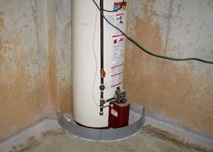 A water heater in West Henrietta that's been protected by the FloodRing® and a perimeter drain system.