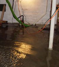 Several feet of floodwaters in a Hilton basement