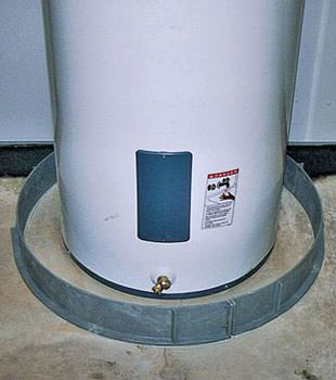 An old water heater in Newark, NY with flood protection installed